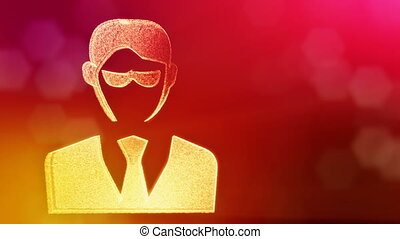 icon of businessman or hacker.. Background made of glow...