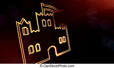 icon of castle. Background made of glow particles as vitrtual hologram. 3D seamless animation with depth of field, bokeh and copy space. Dark version 6