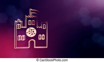 icon of Castle with emblem of soccer ball. Background made...