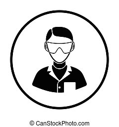 Icon of chemist in eyewear . Thin circle design. Vector...
