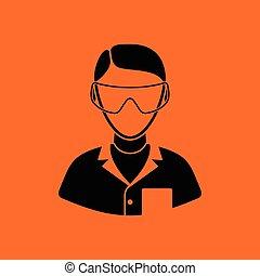 Icon of chemist in eyewear. Orange background with black. ...