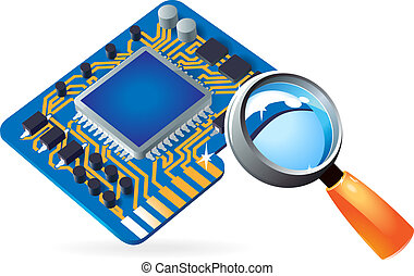 Icon of chipset and lens - Blue computer chipset under...