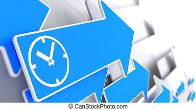 Icon of Clock Face on Blue Arrow.