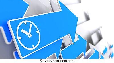 Icon of Clock Face on Blue Arrow.
