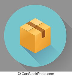 Icon of closed post cardboard box. Flat style