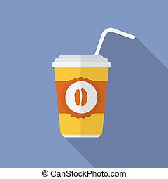 Icon of coffee glass. Flat style