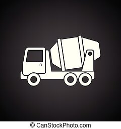 Icon of Concrete mixer truck . Black background with white....