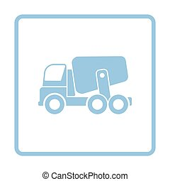 Icon of Concrete mixer truck . Blue frame design. Vector...