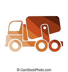 Icon of Concrete mixer truck . Flat color design. Vector...