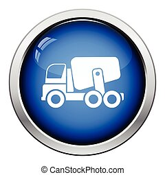 Icon of Concrete mixer truck . Glossy button design. Vector...
