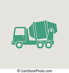 Icon of Concrete mixer truck . Gray background with green....
