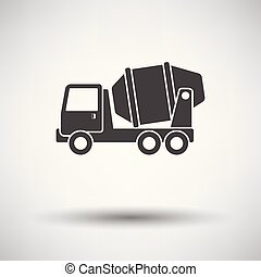 Icon of Concrete mixer truck on gray background, round...