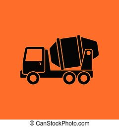 Icon of Concrete mixer truck . Orange background with black....