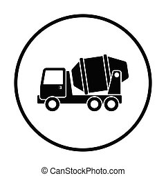 Icon of Concrete mixer truck . Thin circle design. Vector...