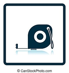 Icon of constriction tape measure. Shadow reflection design. Vector illustration.