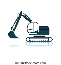 Icon Of Construction Bulldozer. Shadow Reflection Design. ...