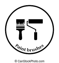 Icon of construction paint brushes. Thin circle design....