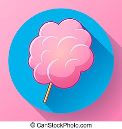 Icon of cotton candy, sugar cloud on stick isolated