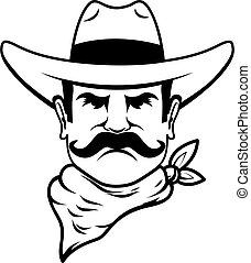 Icon of cowboy head. Design element for logo, label, sign, ...