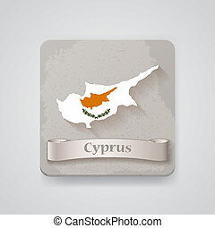 Icon of Cyprus map with flag. Vector illustration