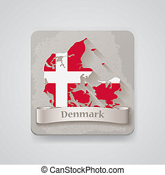 Icon of Denmark map with flag. Vector illustration