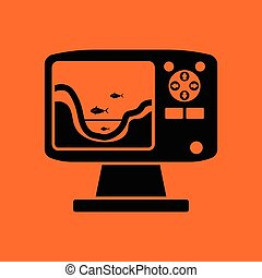 Icon of echo sounder . Orange background with black. Vector...