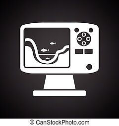 Icon of echo sounder . Black background with white. Vector...