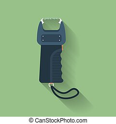 Icon of electric shocker, electric strike, electric stunning device, electrical shock apparatus, stunning electric shock device. Flat style