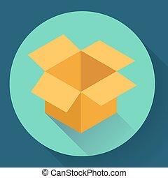 Icon of empty opened cardboard box. Flat style