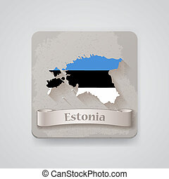 Icon of Estonia map with flag. Vector illustration