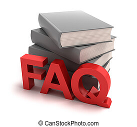 Icon of FAQ with books behind