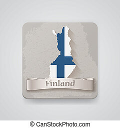Icon of Finland map with flag. Vector illustration
