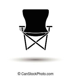 Icon of Fishing folding chair. White background with shadow...