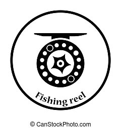 Icon of Fishing reel . Thin circle design. Vector...