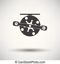 Icon of Fishing reel on gray background, round shadow....