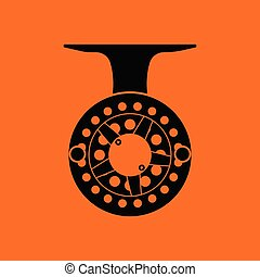 Icon of Fishing reel . Orange background with black. Vector...