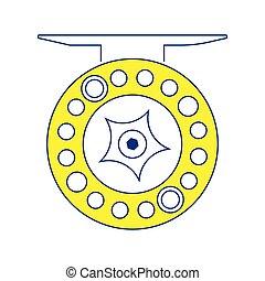 Icon of Fishing reel . Thin line design. Vector...