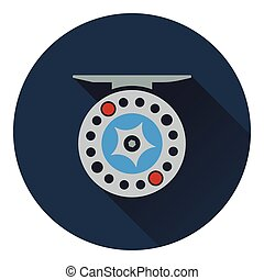 Icon of Fishing reel . Flat design. Vector illustration.