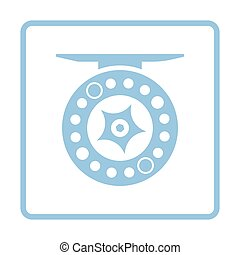 Icon of Fishing reel . Blue frame design. Vector...