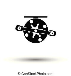 Icon of Fishing reel . White background with shadow design....