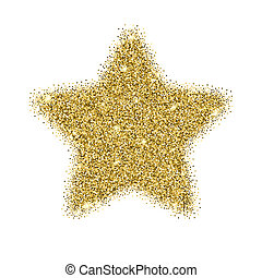 Icon of Five-pointed star with gold sparkles and glitter