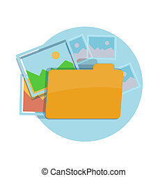 Icon of folder with pictures at flat design