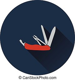 Icon of folding penknife. Flat design. Vector illustration.