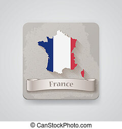 Icon of France map with flag. Vector illustration