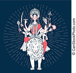 Icon of Goddess Durga   a lion