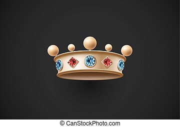 Icon of gold royal crown with red and blue diamond