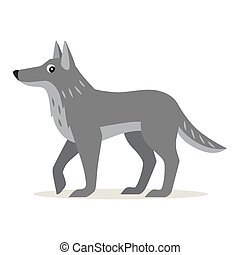 Icon of gray wolf isolated, forest animal