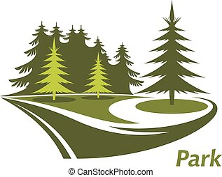 Modern green icon for a Park with swirling lawns and evergreen pines and the text Park below