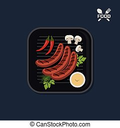Icon of grilled sausages on pan with sause. Top view. Barbecue dish. Meat fast food. Image of picnic