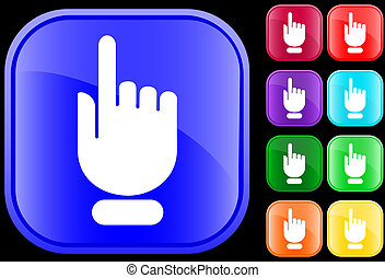Icon of hand with pointing/selecting - Icon of a hand with ...